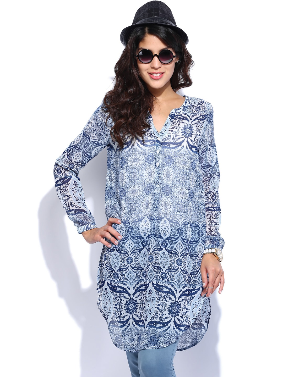 ONLY Women Blue Printed Sheer Tunic