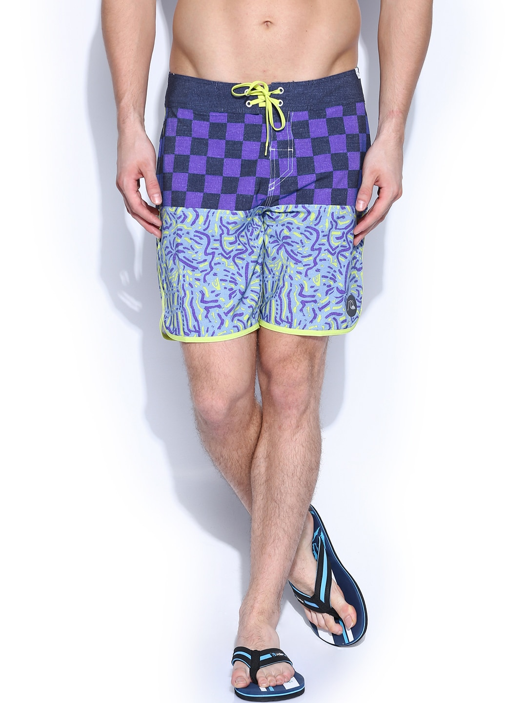 Quiksilver Men Multicoloured Printed Quadrockscallop Surfing Shorts