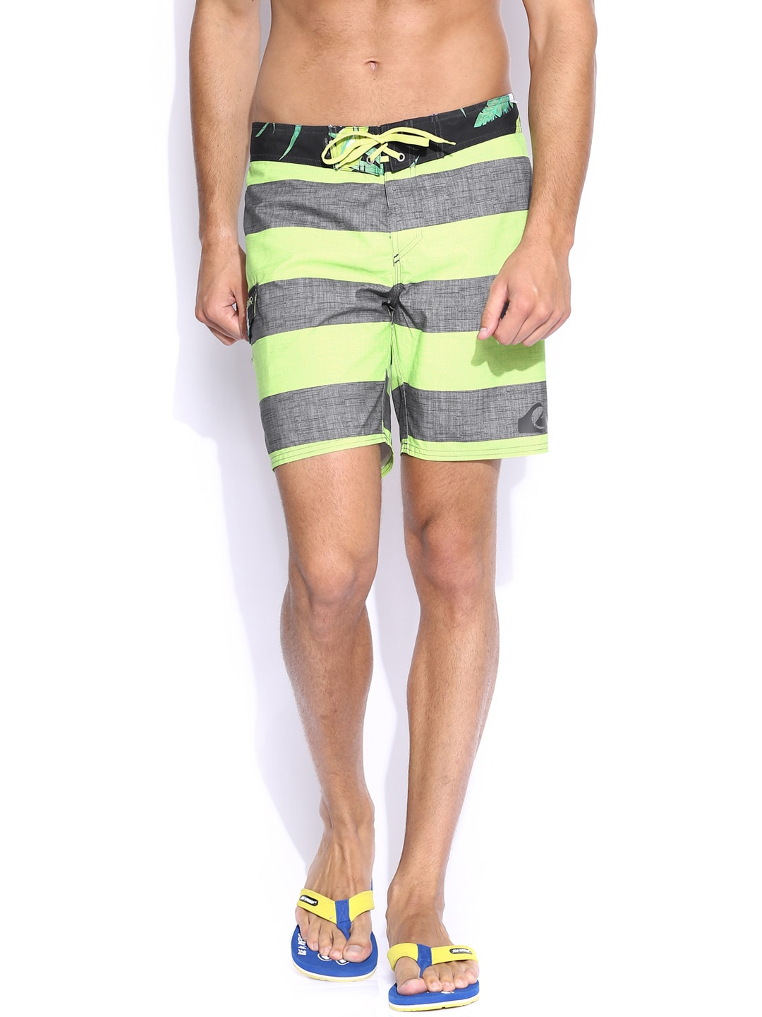 Quiksilver Men Green & Grey Striped Everyday Brigg Surfing Shorts