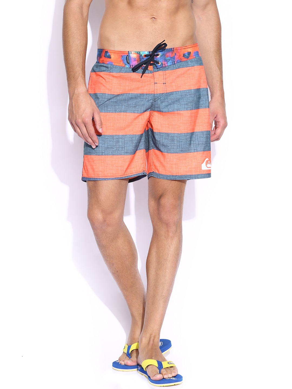 Quiksilver Men Orange & Grey Striped Everyday Brigg Surfing Shorts