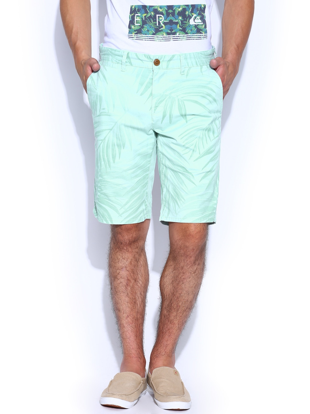 Quiksilver Men Green Printed Krandy Chino Shorts