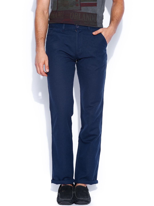 Pepe Jeans Men Navy Arty Slim Fit Linen Trousers