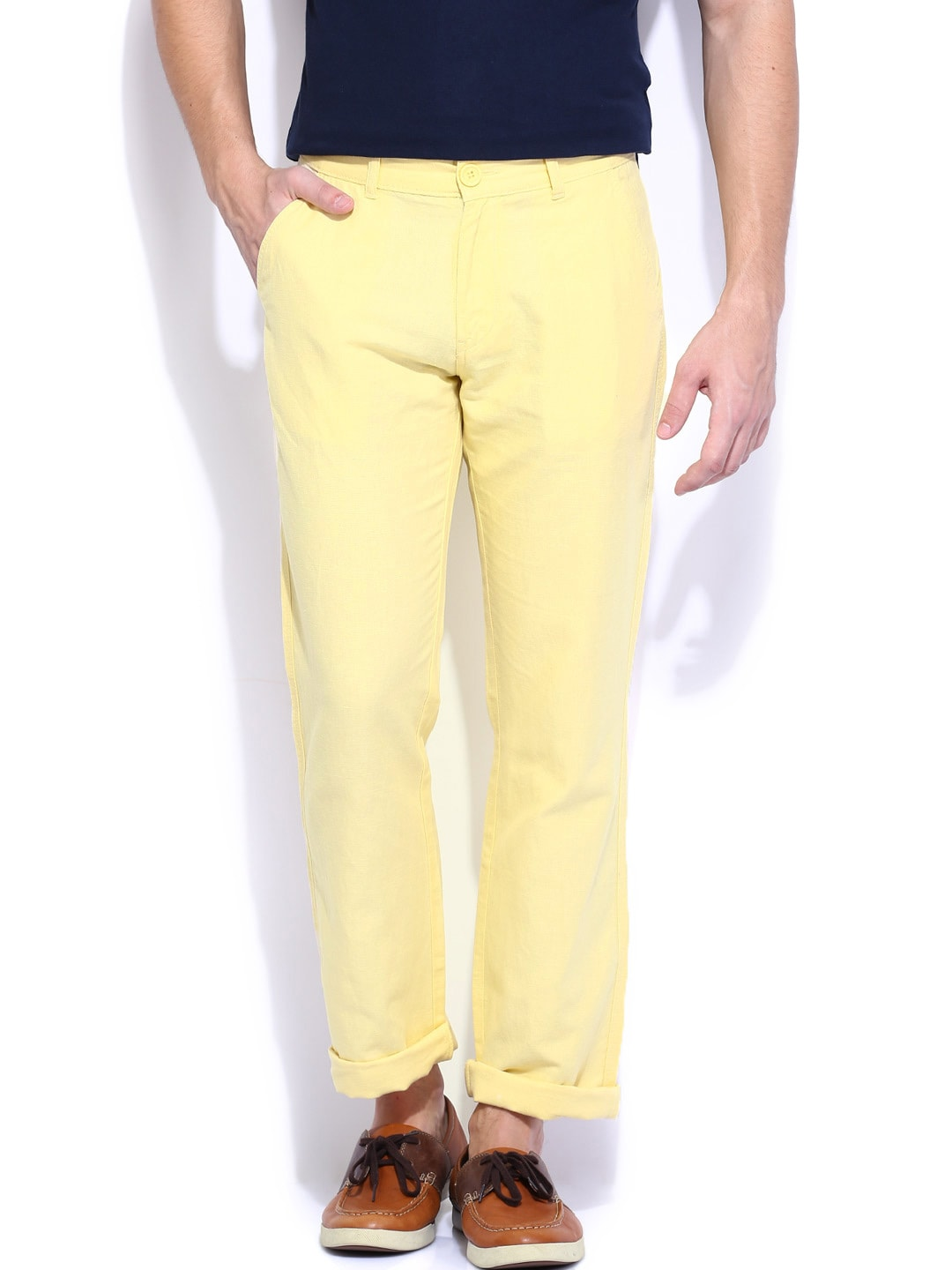 Pepe Jeans Men Yellow Arty Slim Fit Linen Trousers