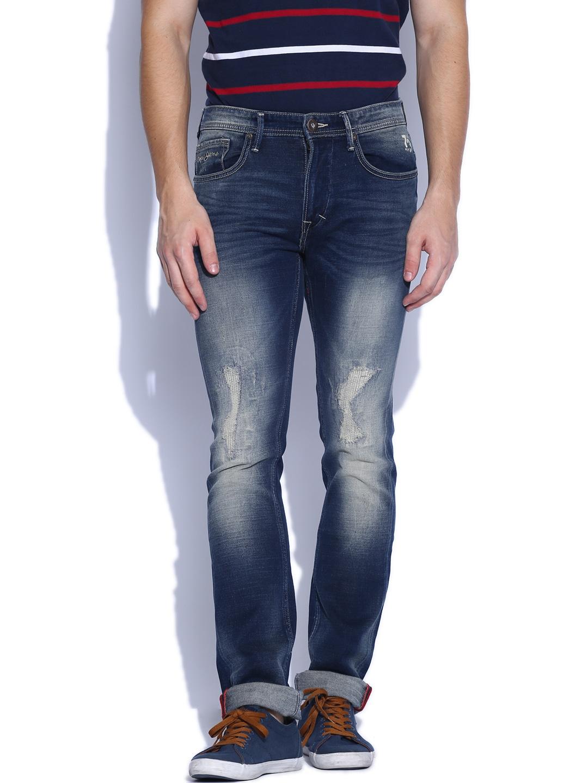 Pepe Jeans Men Dark Blue Raine Vapour Slim Fit Jeans