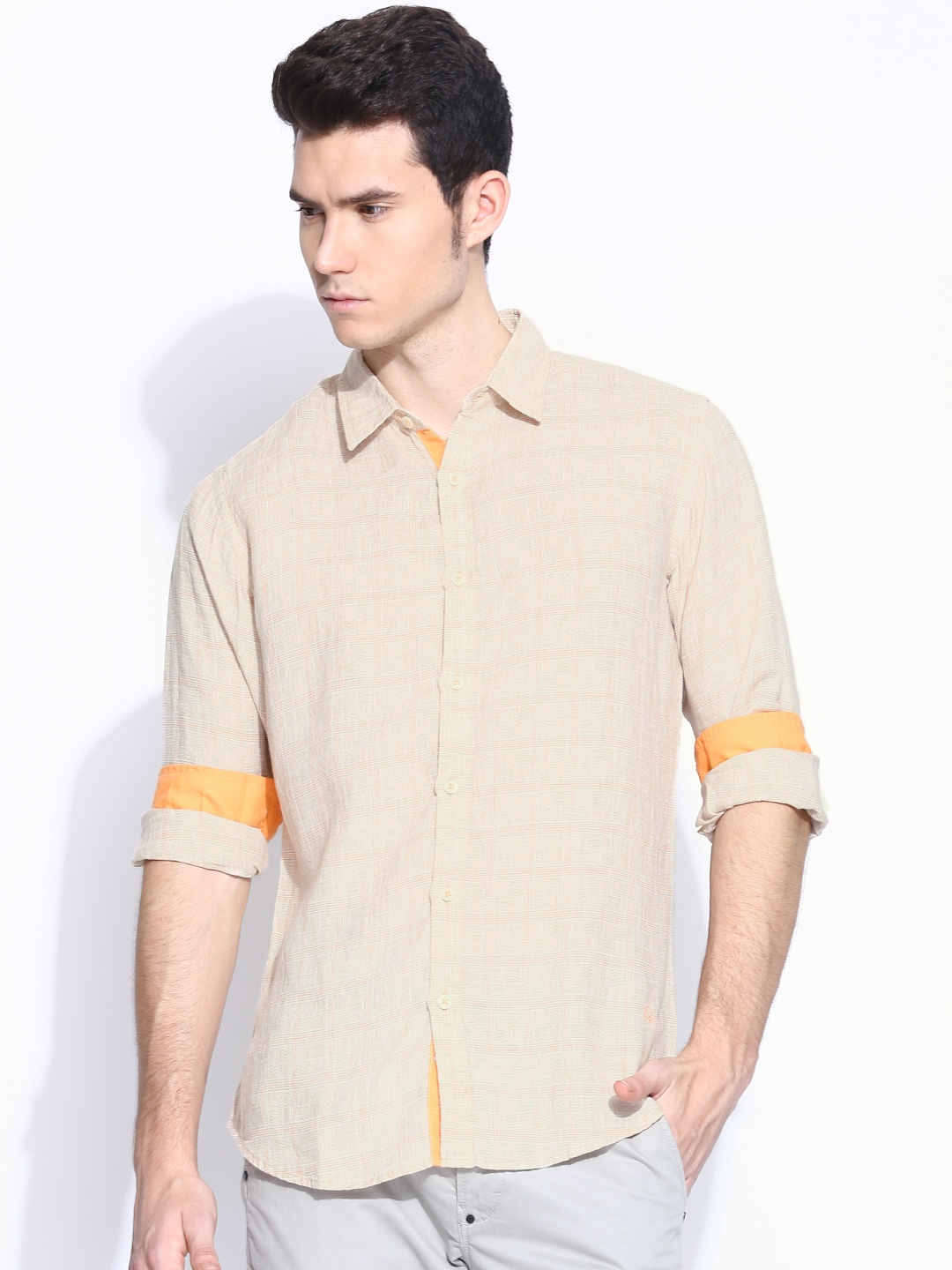 United Colors of Benetton Men Beige Checked Linen Casual Shirt