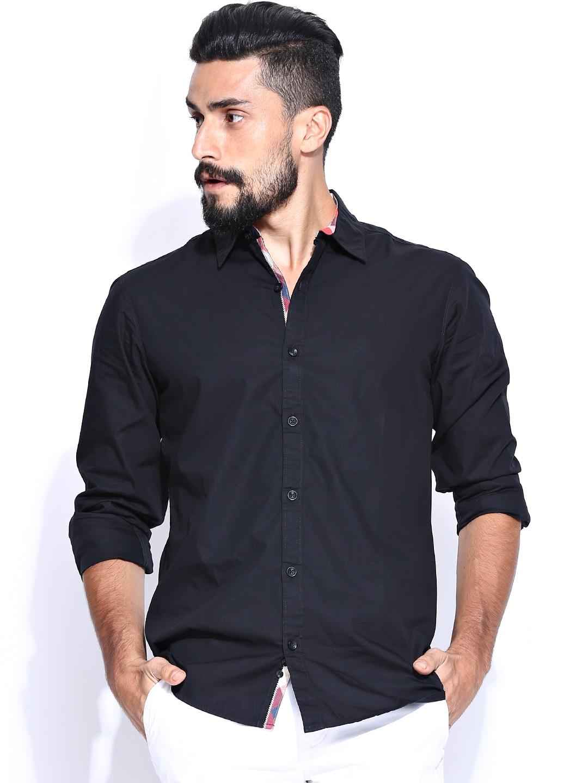 United Colors of Benetton Men Black Casual Shirt
