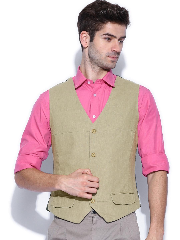 United Colors of Benetton Men Beige Waistcoat
