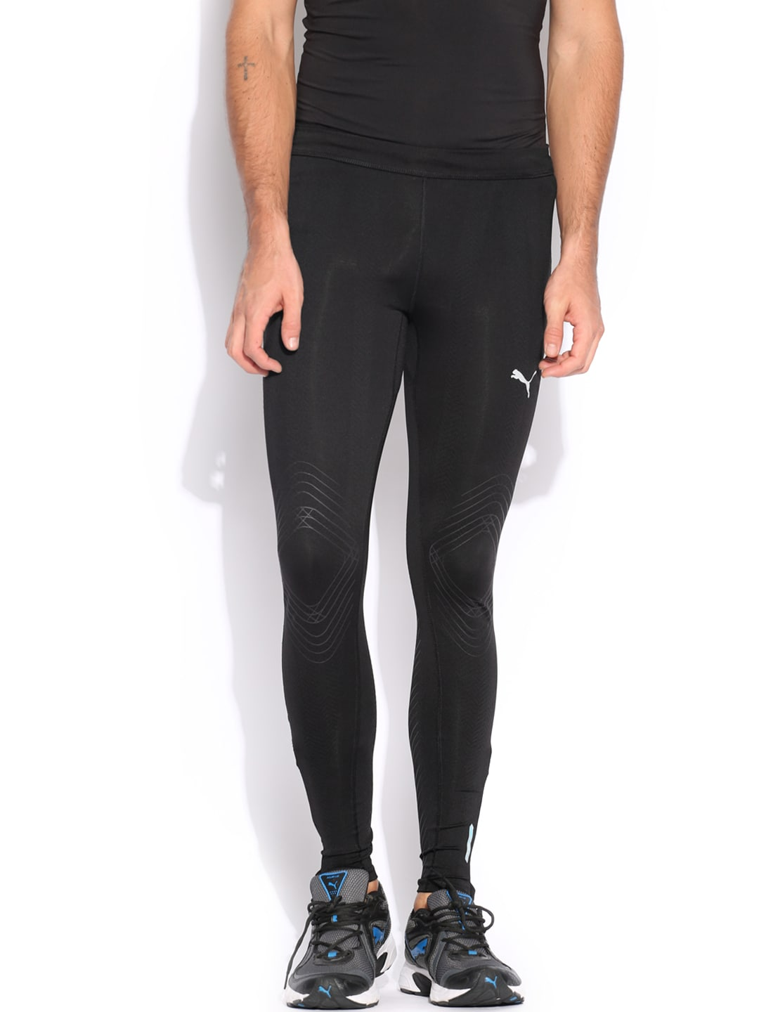 PUMA Men Black Printed Compression Tights