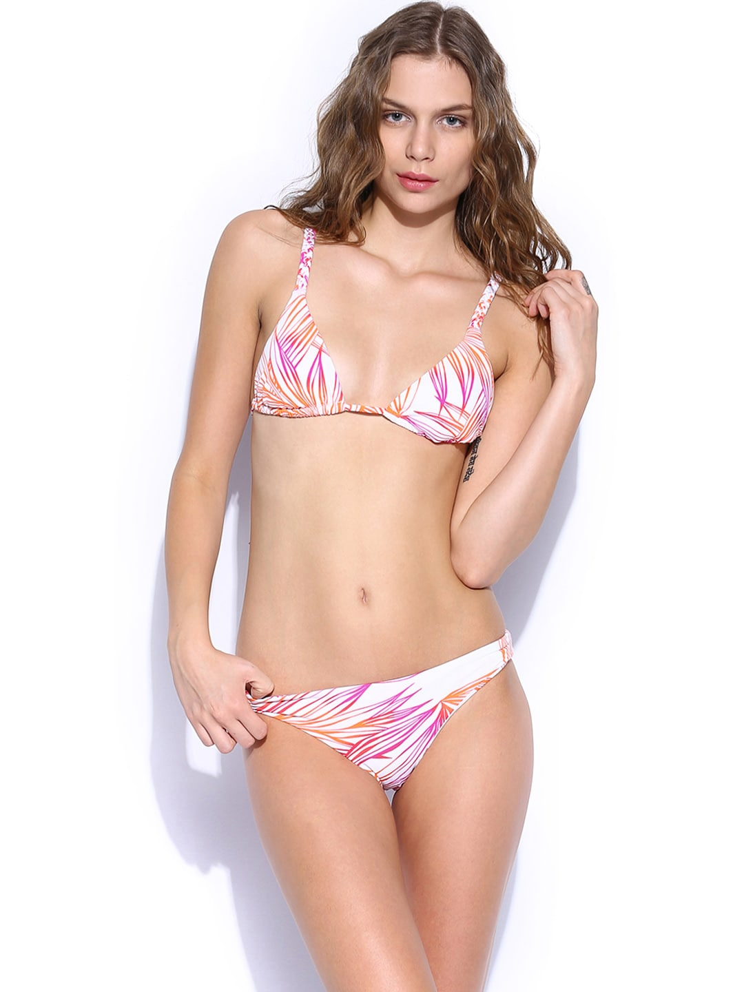 Roxy Women Off-White & Orange Printed Swimwear 410033661005