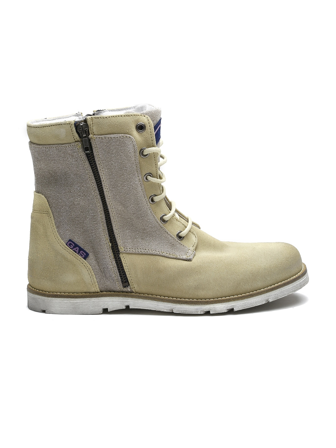 GAS Men Beige Suede Boots