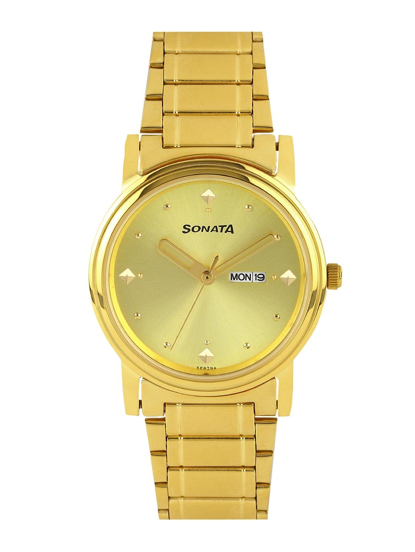 Sonata Men Gold-Toned Dial Watch NC1141YM13