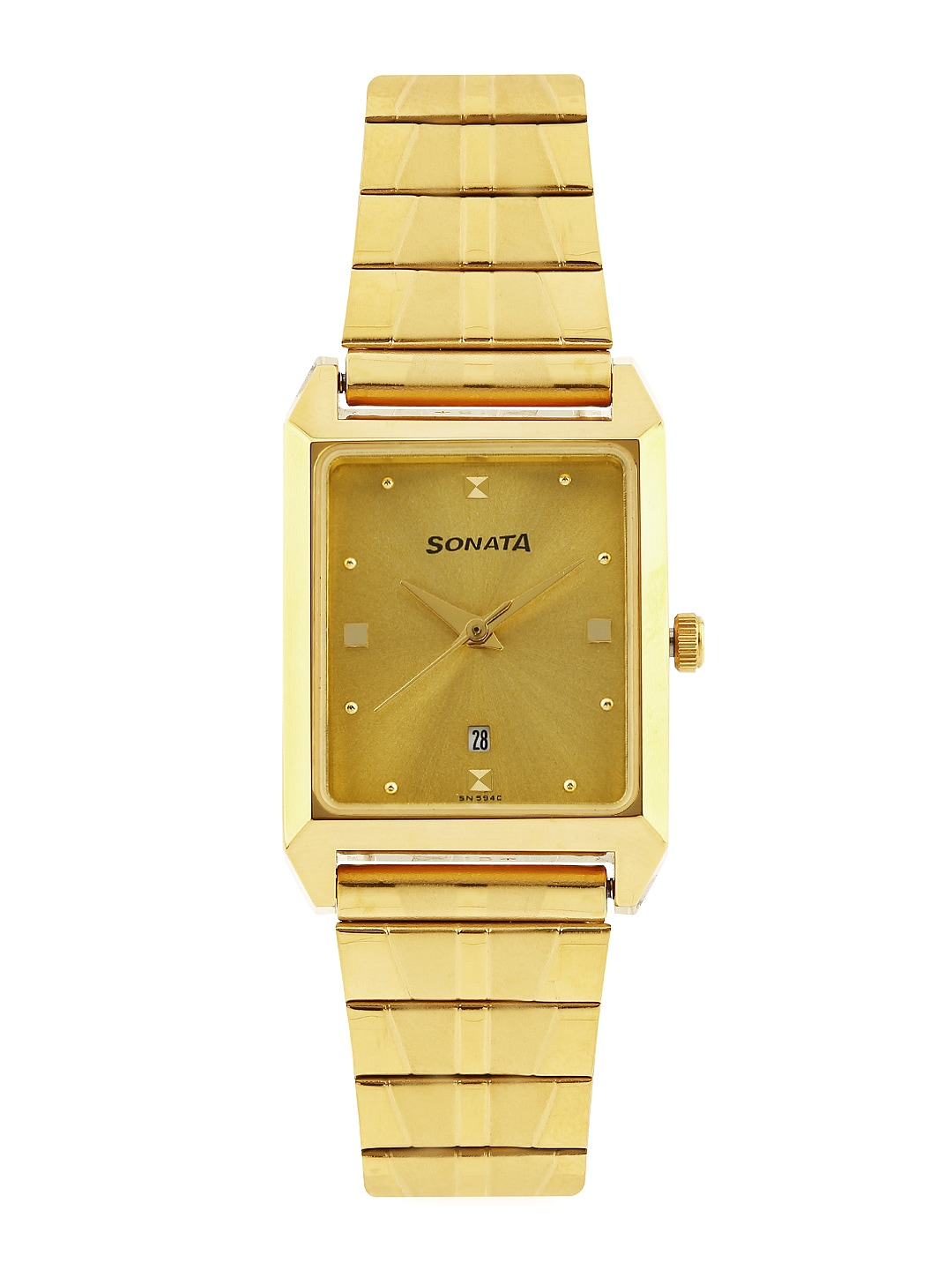 Sonata Men Gold-Toned Dial Watch NF7007YM02A