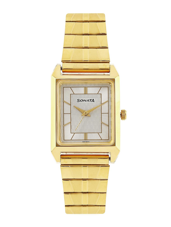 Sonata Men Silver-Toned Dial Watch NF7007YM12