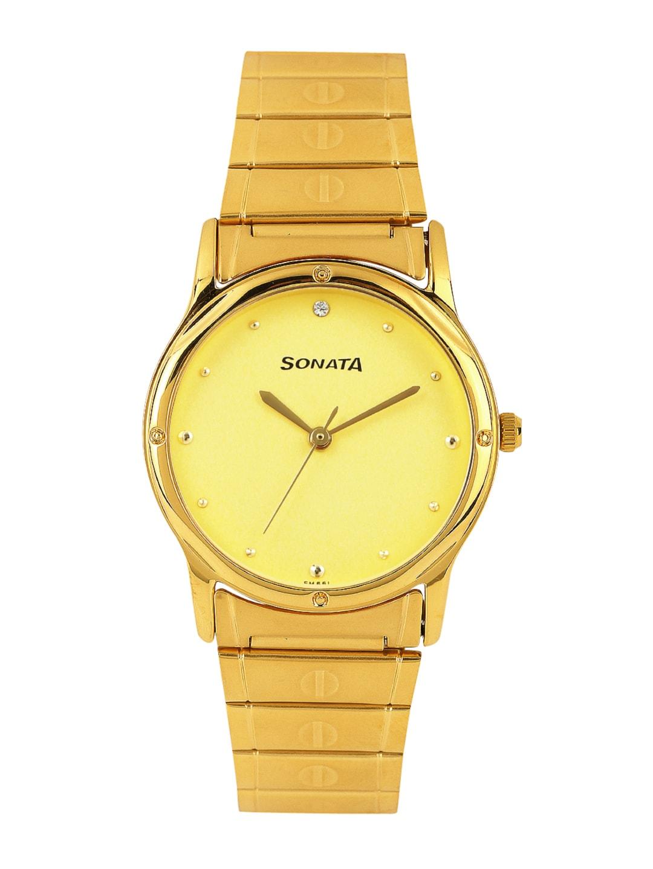 Sonata Men Gold-Toned Dial Watch NC7023YM02