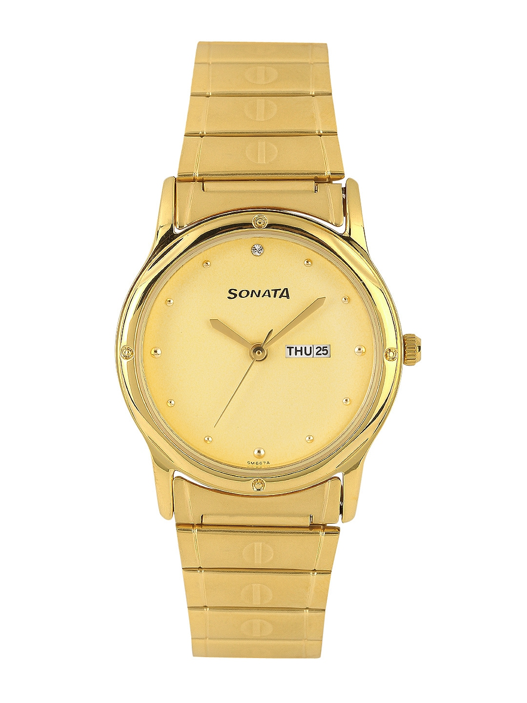 Sonata Men Gold-Toned Dial Watch NC7023YM09