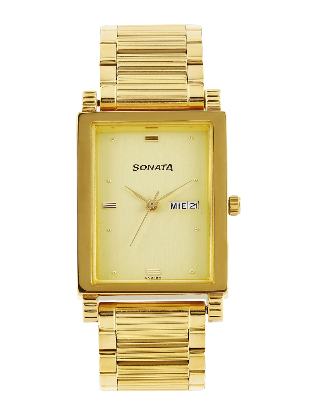 Sonata Men Gold-Toned Dial Watch NF7058YM05A