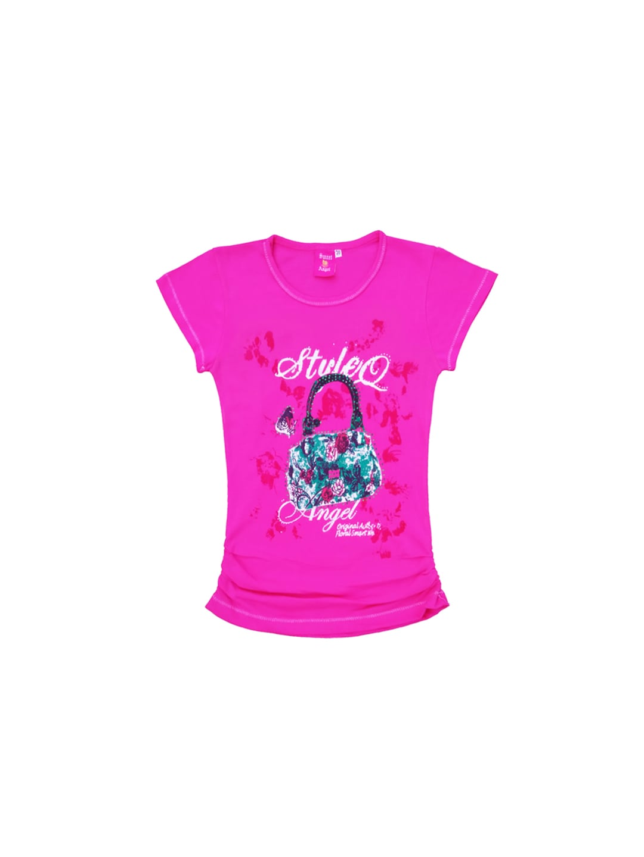 SWEET ANGEL Girls Pink Printed Top