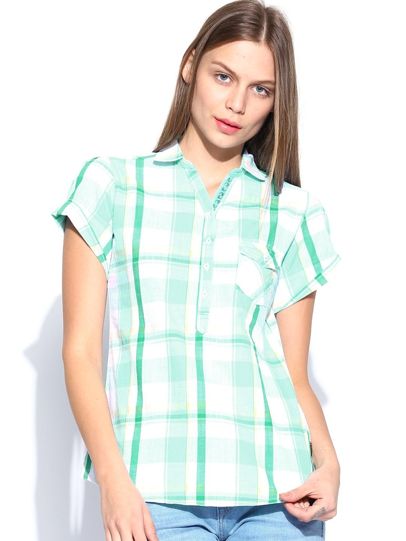 Wrangler Women Green & White Checked Shirt