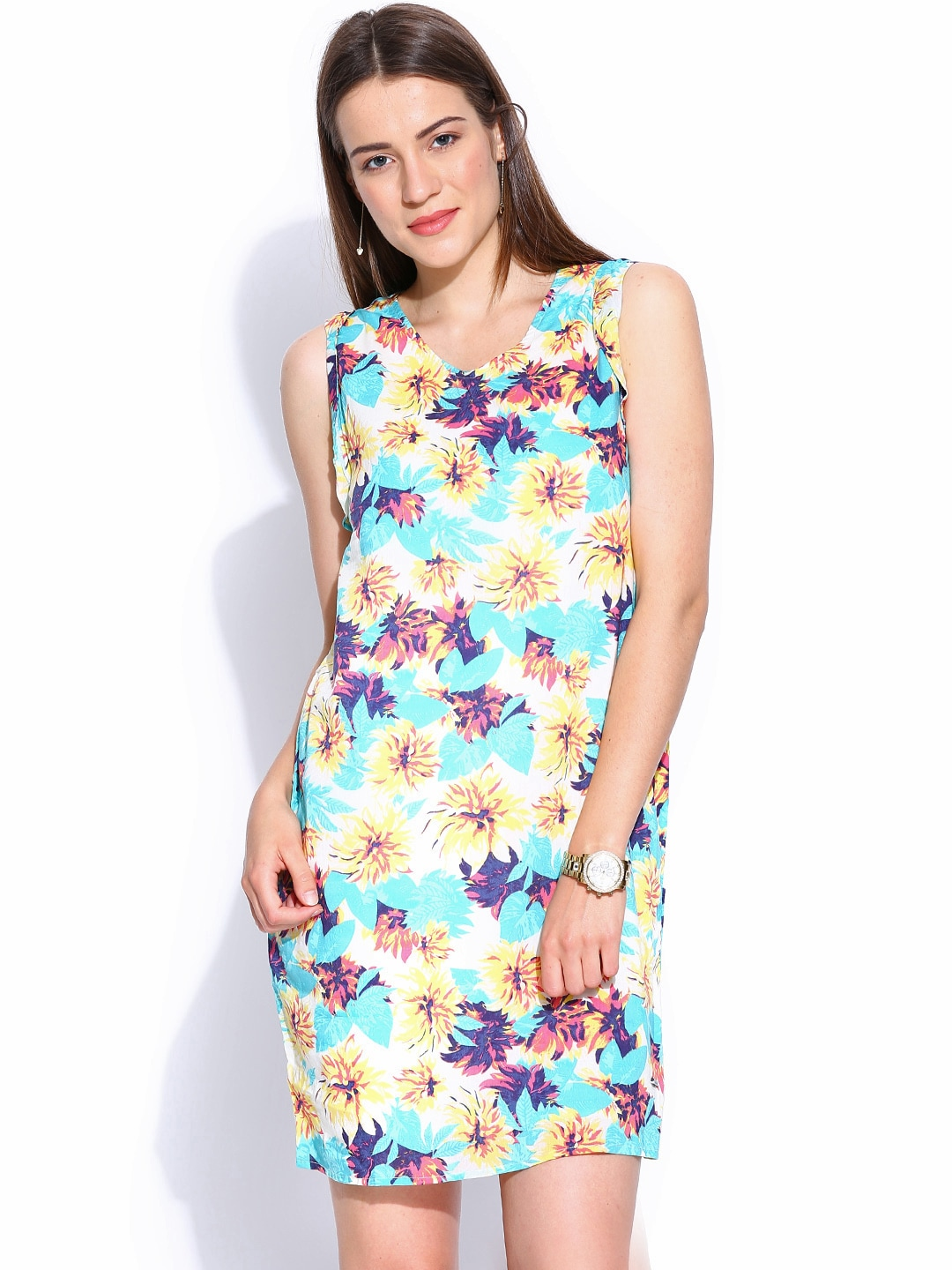 Pepe Jeans Blue & Yellow Floral Printed Shift Dress