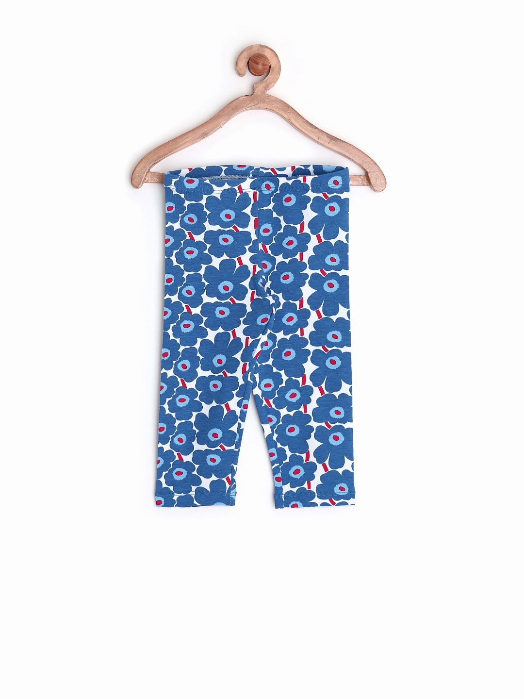 SELA Girls White & Blue Floral Printed Leggings