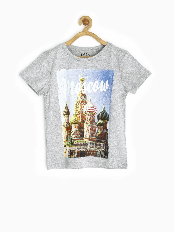 SELA Boys Grey Melange Printed T-shirt