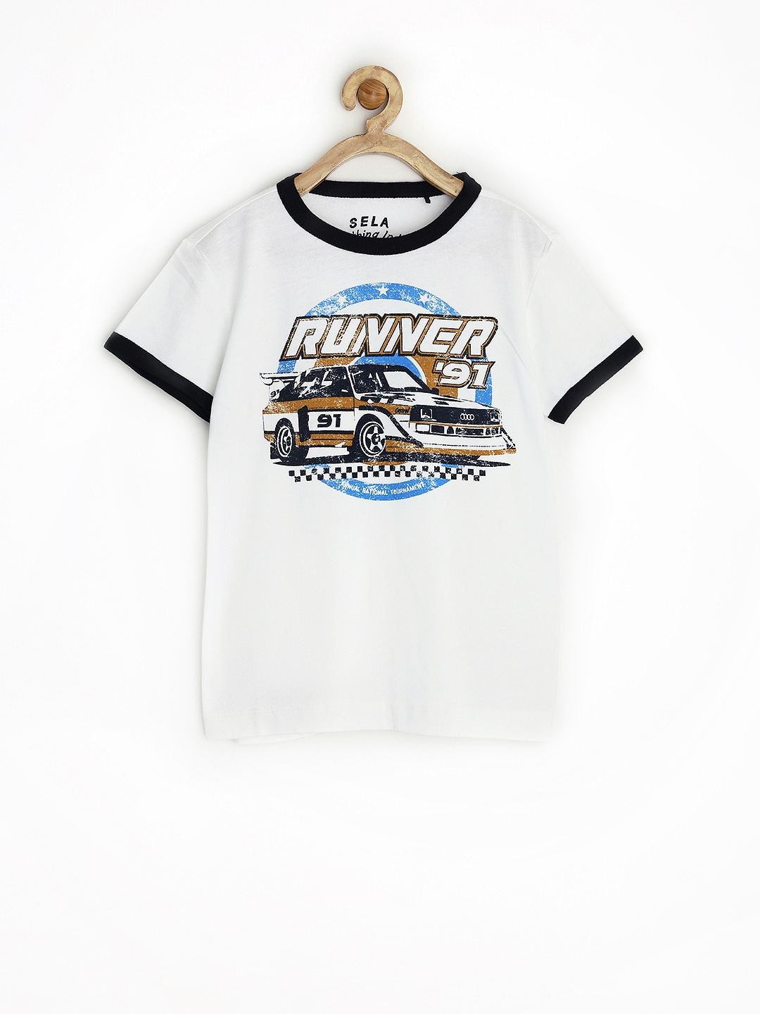 SELA Boys White Printed T-shirt
