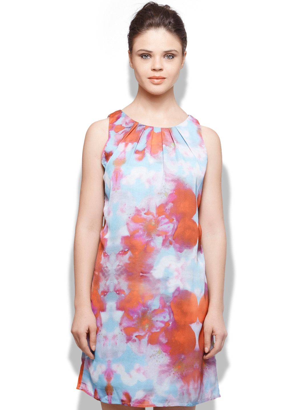 United Colors of Benetton Red & Blue Printed Shift Dress