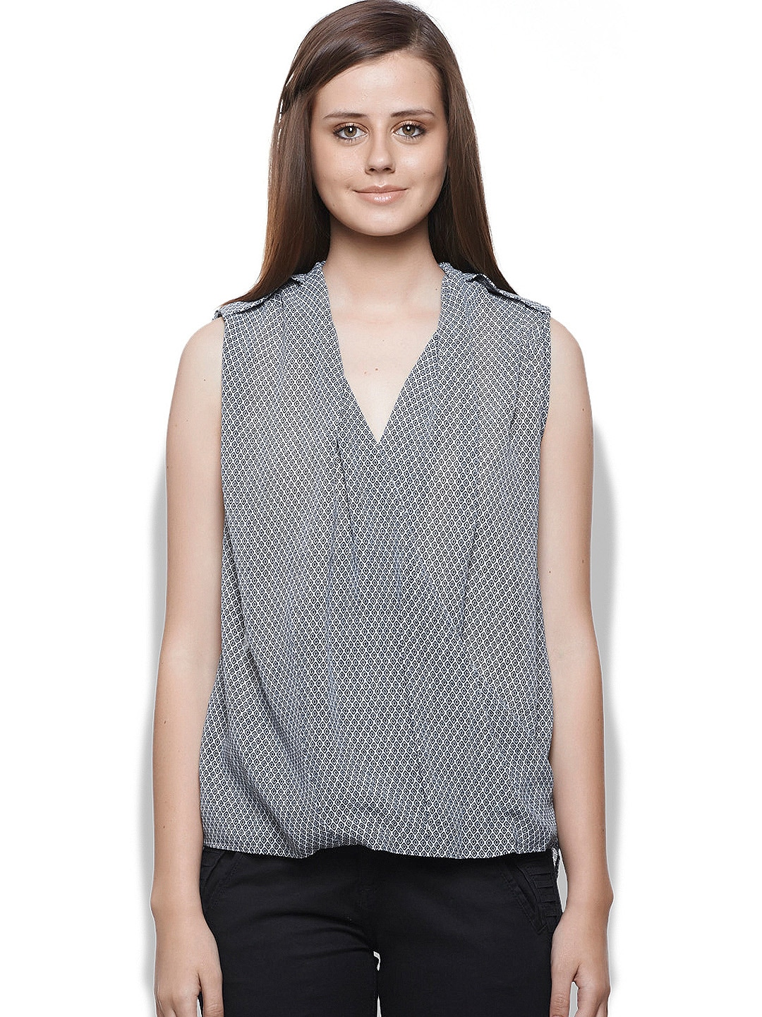 United Colors of Benetton Women White & Black Printed Top