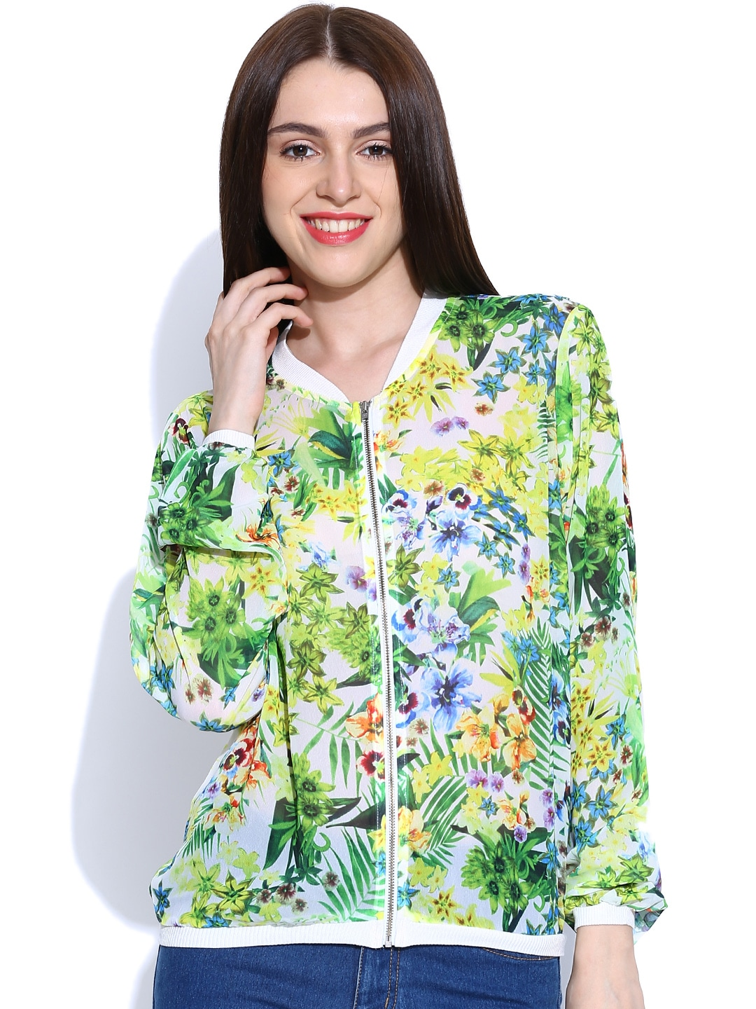 United Colors of Benetton Women Green & Yellow Printed Sheer Jacket
