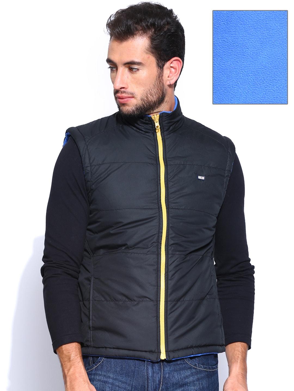 Arrow Sport Men Black & Blue Sleeveless Reversible Jacket