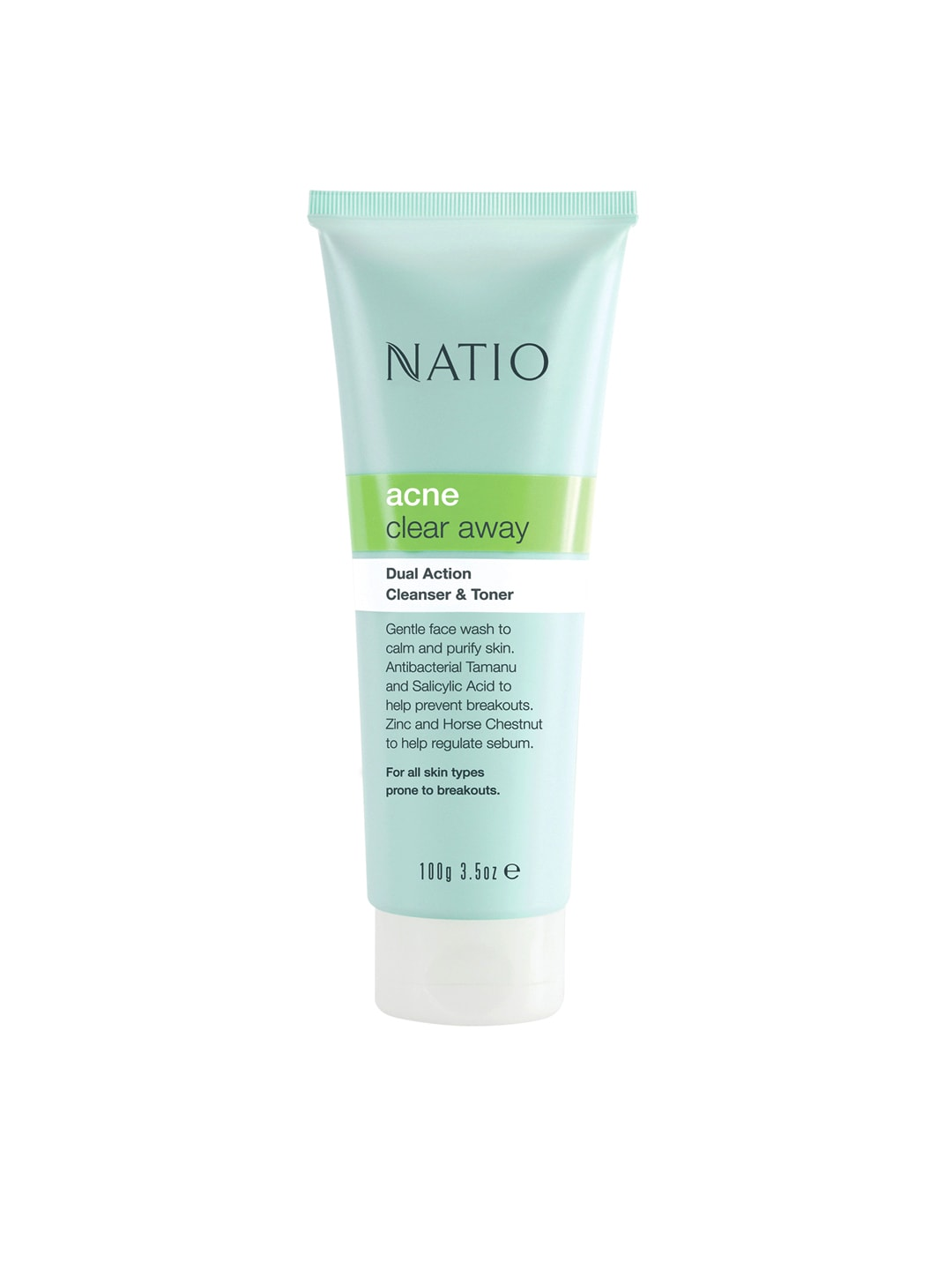 Natio Acne Clear Away Dual Action Cleanser & Toner Face Wash