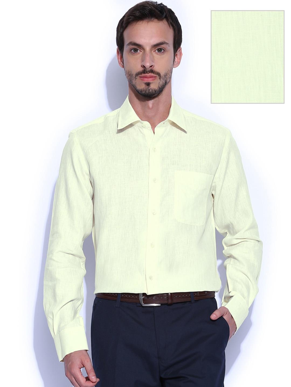 Peter England Men Yellow Slim Fit Linen Smart Casual Shirt