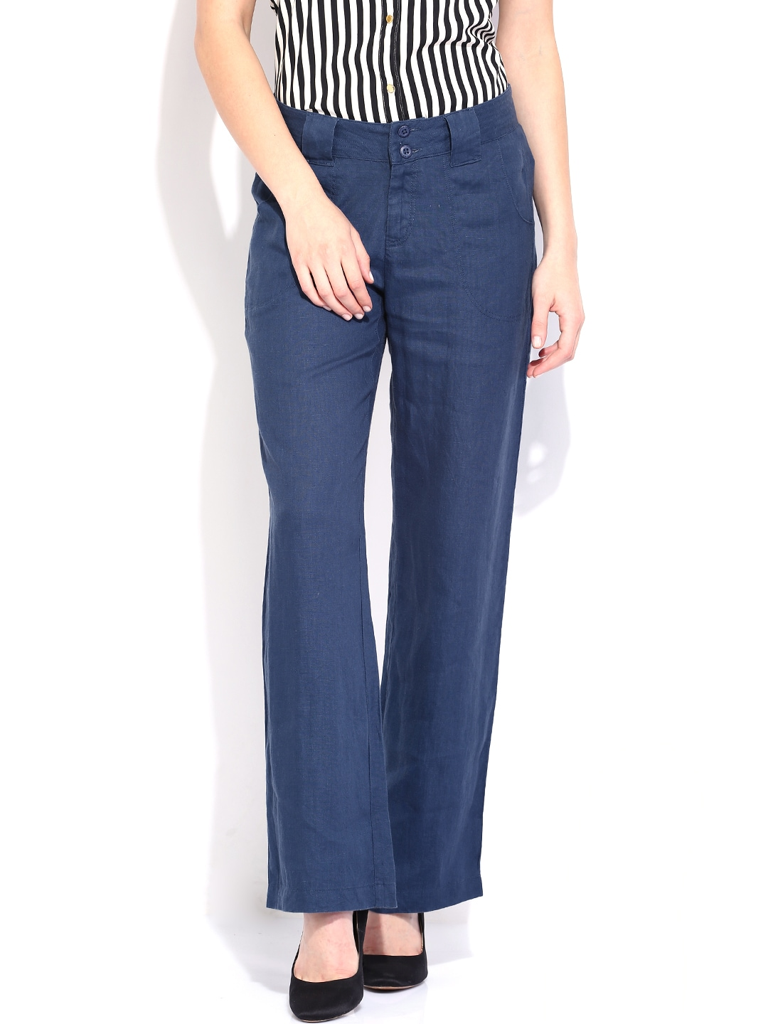 U.S. Polo Assn. Women Blue Linen Trousers
