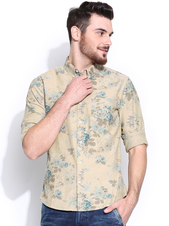 United Colors of Benetton Men Beige Casual Shirt