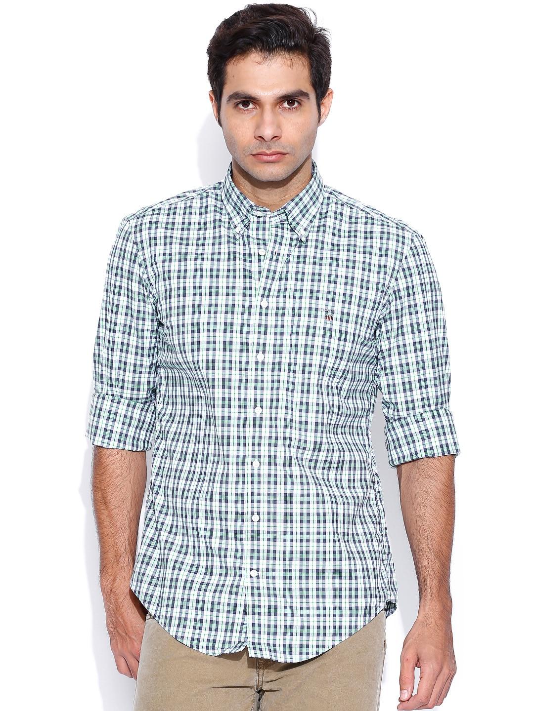 GANT White & Navy Checked Casual Shirt
