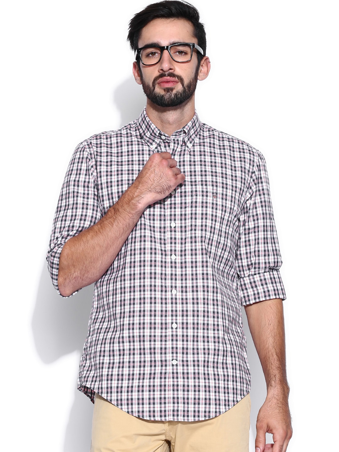 GANT White & Navy Checked Casual Shirt