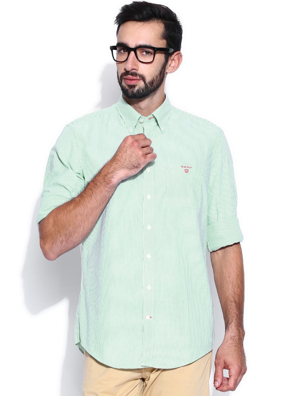 GANT White & Green Striped Casual Shirt