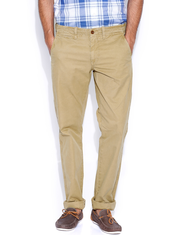 GANT Khaki Low-Rise Soho Narrow Fit Trousers