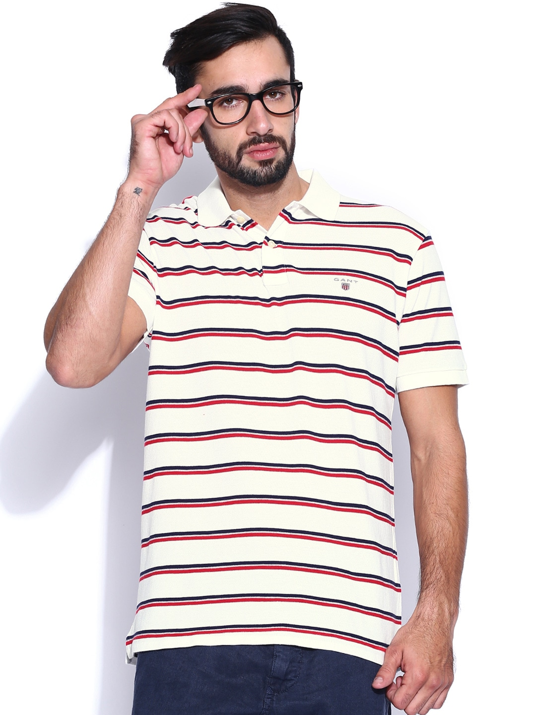 Buy gant off white red striped pique polo t shirt 289 for Red white striped polo shirt