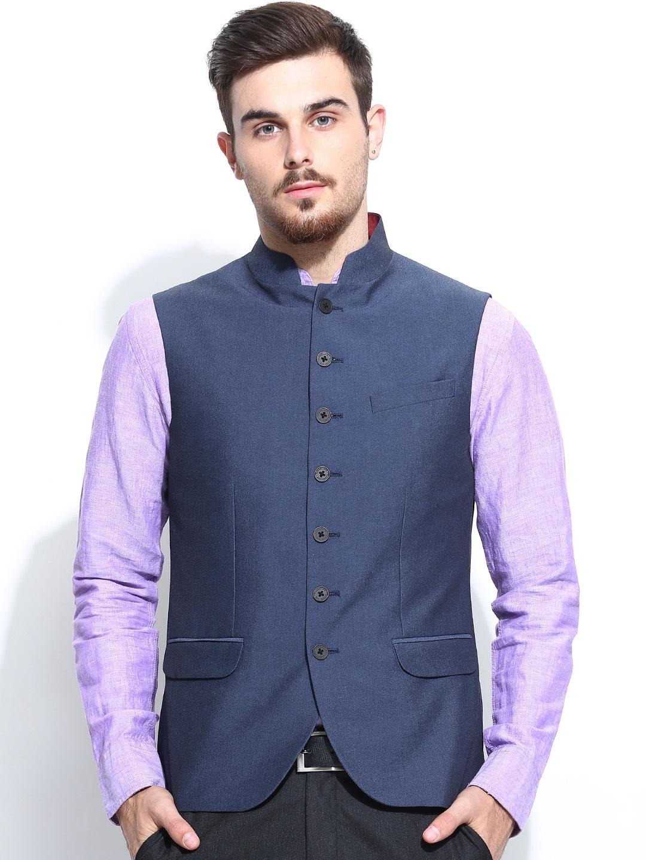 Blackberrys Men Blue Slim Fit Nehru Jacket
