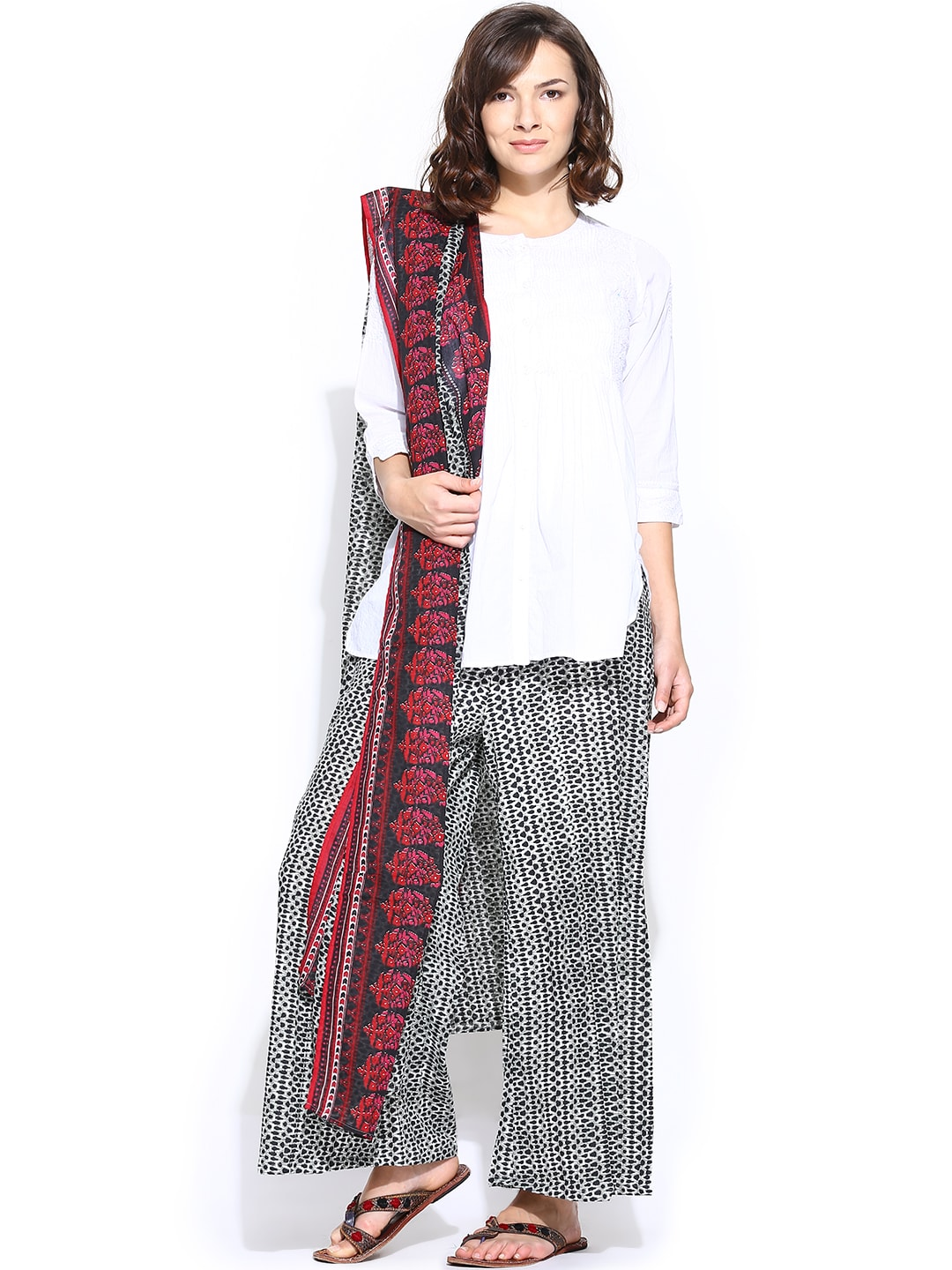 BIBA OUTLET Grey & Black Printed Palazzo Trousers with Dupatta