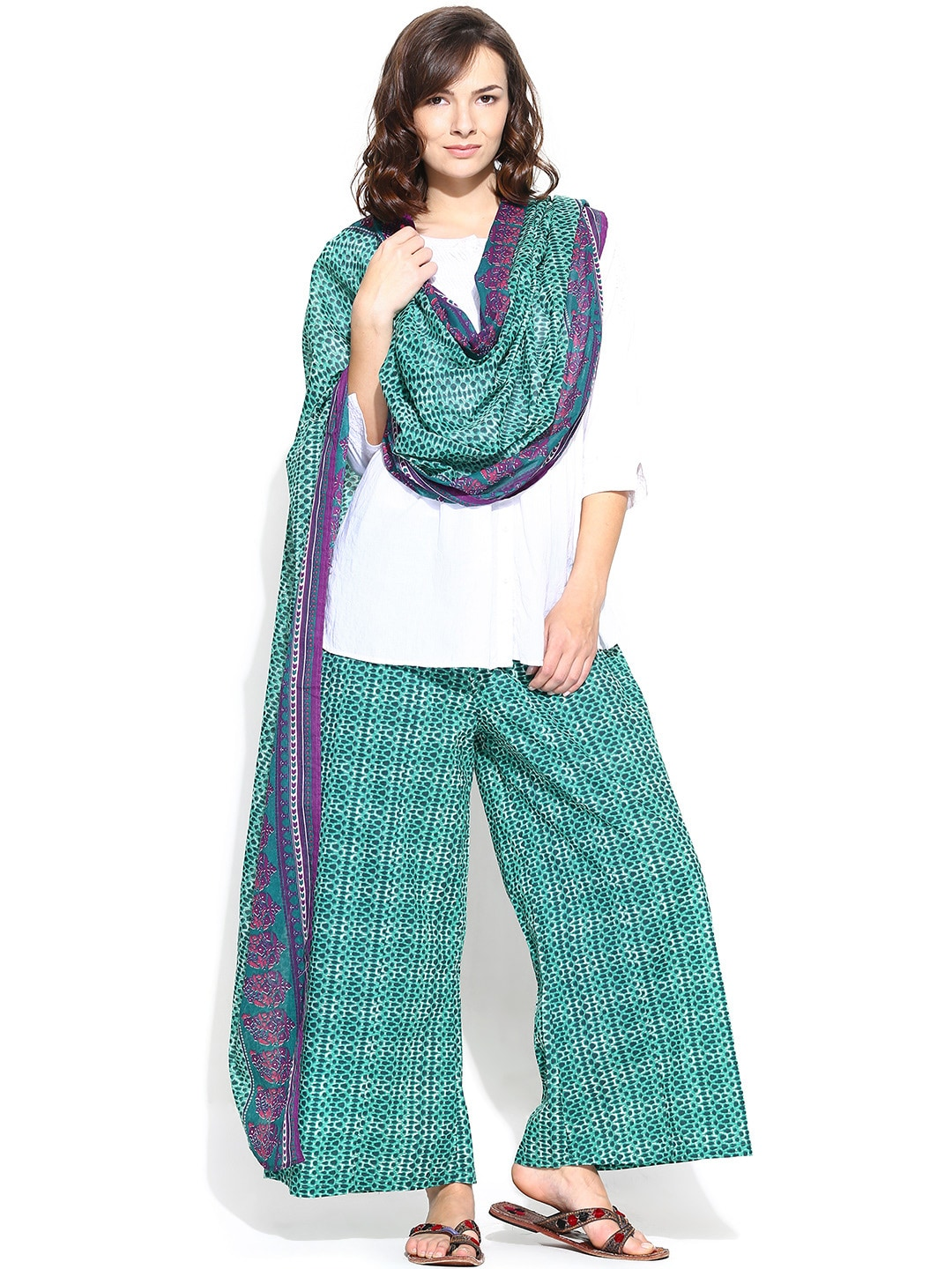 BIBA OUTLET Green Printed Palazzo Trousers with Dupatta