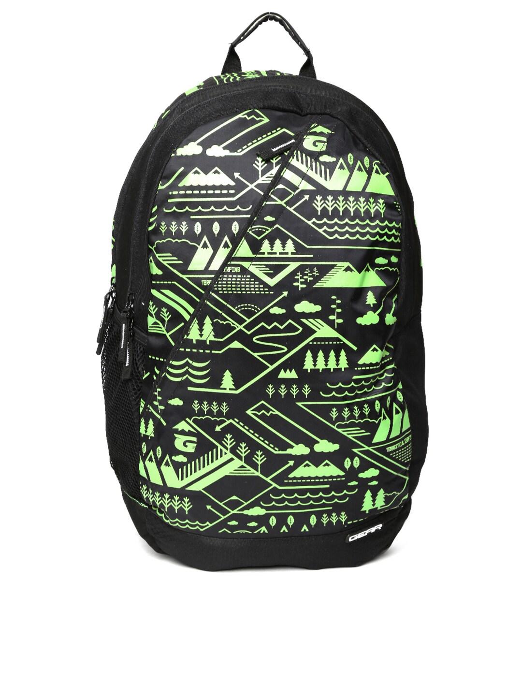 Gear Unisex Black Campus 1 Printed Backpack