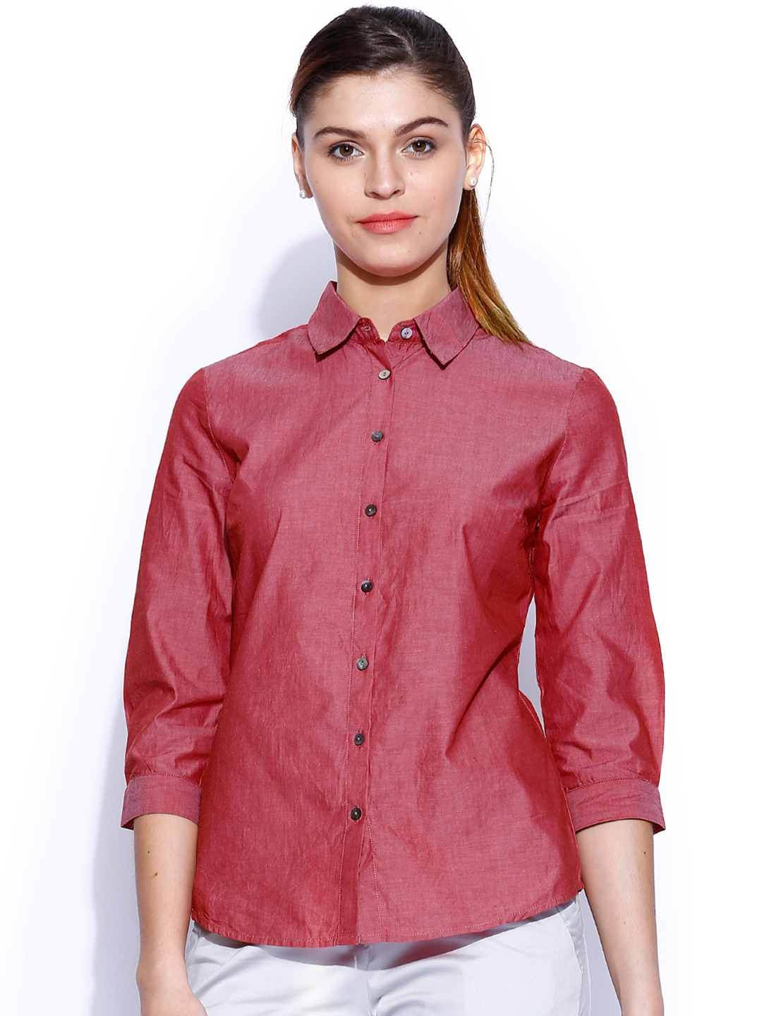 Wills Lifestyle Red Formal Shirt