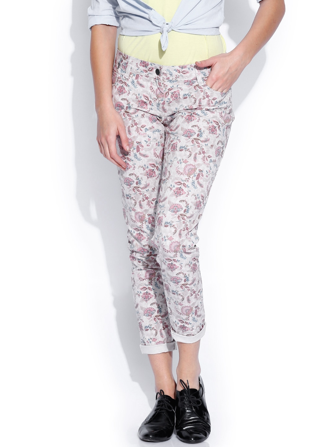 Wills Lifestyle Beige & Pink Printed Slim Fit Trousers
