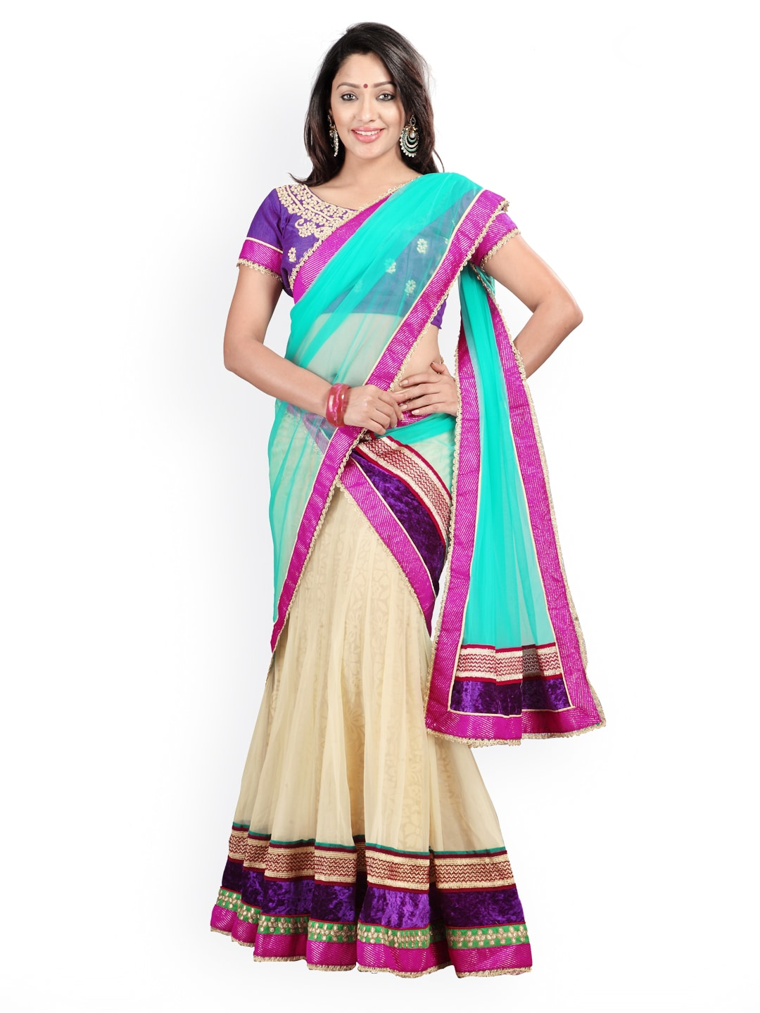 Florence Cream-Coloured & Purple Net & Brasso Semi-Stitched Lehenga Choli Material with Dupatta