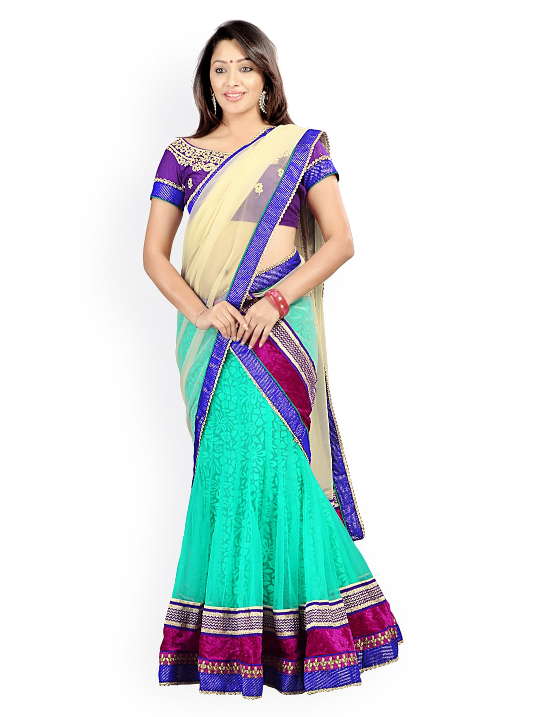Florence Green & Purple Semi-Stitched Brasso Net Lehenga Choli with Dupatta