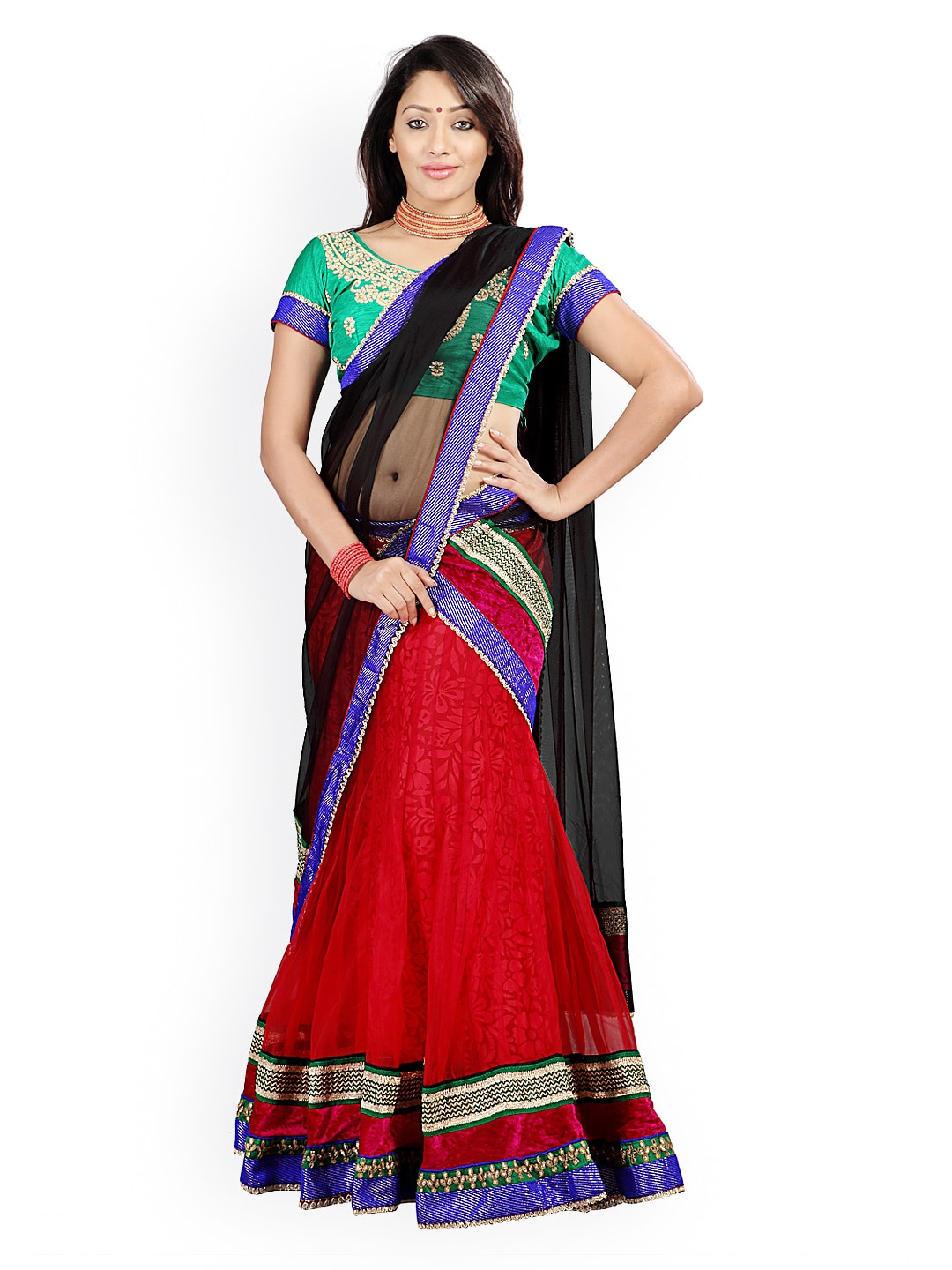 Florence Red & Green Semi-Stitched Brasso Net Lehenga Choli with Dupatta