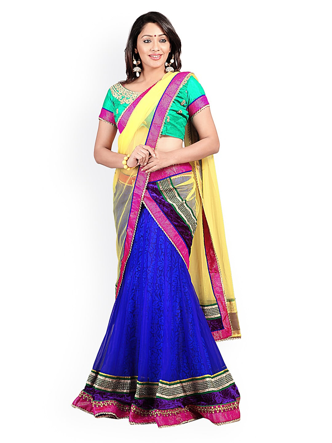 Florence Blue & Green Net & Brasso Semi-Stitched Lehenga Choli Material with Dupatta