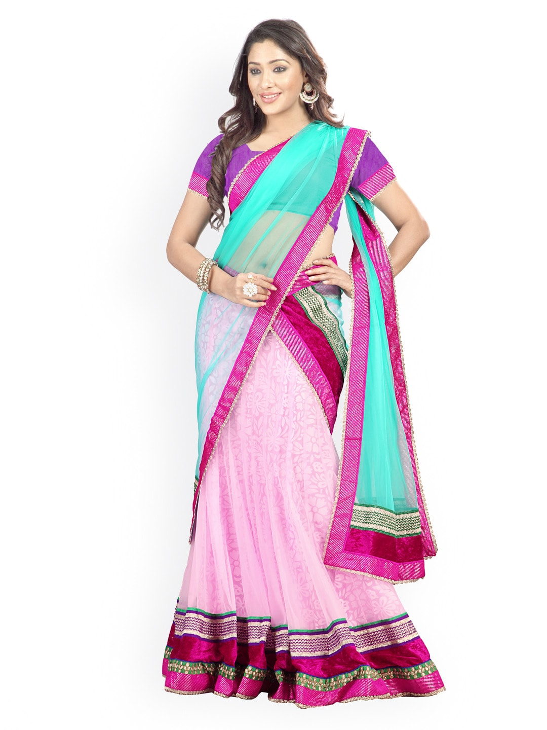 Florence Light Pink & Purple Semi-Stitched Brasso Net Lehenga Choli with Dupatta